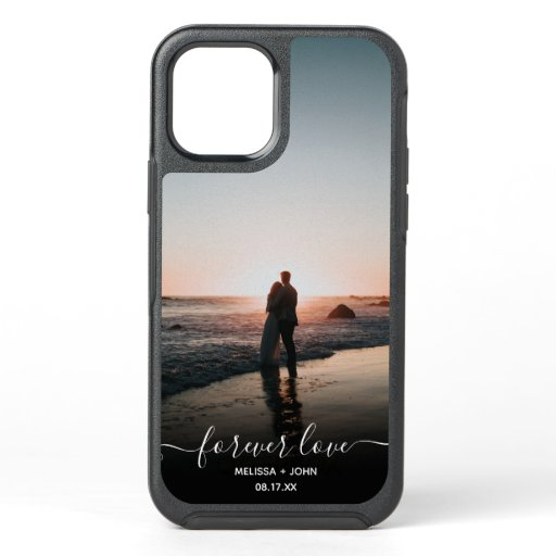 Love script couple photo modern monogram overlay OtterBox symmetry iPhone 12 case