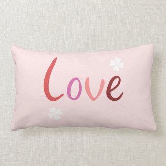 Love Script Design Pinks Reds & White Pillow