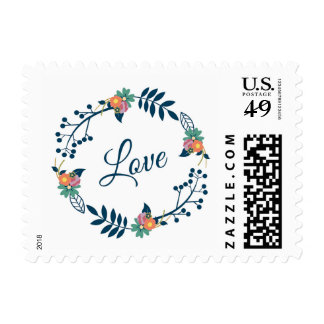 Love Script Floral Wreath Rustic Wedding Postage