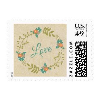 Love Script Floral Wreath Vintage Rustic Wedding Postage Stamp