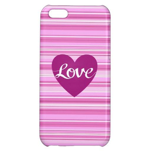 Love Script & Heart on Stripes Pinks White Plum Case For iPhone 5C