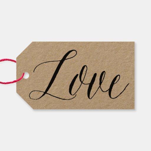 Love script kraft paper calligraphy gift tag zazzle