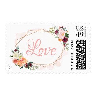 Love Script Modern Geometric Bloom Floral Postage