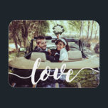 "Love Script Overlay Magnet<br><div class=""desc"">Share a favorite everyday,  engagement or wedding photo on our rectangular flexi magnets featuring &quot;love&quot; in modern white handwritten script along the bottom. Makes a unique wedding favor when paired with an engagement photo!</div>"