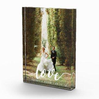 Love Script Overlay   Personalized Wedding Photo Photo Block