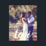 "Love Script Overlay Photo Canvas Print<br><div class=""desc"">Display a favorite everyday,  engagement or wedding photo on this striking wrapped canvas print featuring &quot;love&quot; in elegant,  modern white handwritten script along the bottom.</div>"