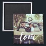 """Love Script Overlay Photo Magnet<br><div class=""""desc"""">Share a favorite everyday,  engagement or wedding photo on our square magnets featuring &quot;love&quot; in modern white handwritten script along the bottom. Makes a unique wedding favor when paired with an engagement photo!</div>"""