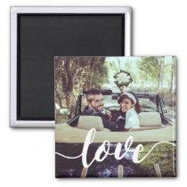 Love Script Overlay Photo Magnet