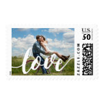 Love Script Overlay | Photo Postage<br><div class='desc'>Spread the love with our postage stamps featuring &quot;love&quot; in modern white handwritten style script,  overlaid on your favorite engagement or wedding photo. A perfect way to finish your engagement announcements,  save the dates,  wedding invitations,  thank you cards and more!</div>