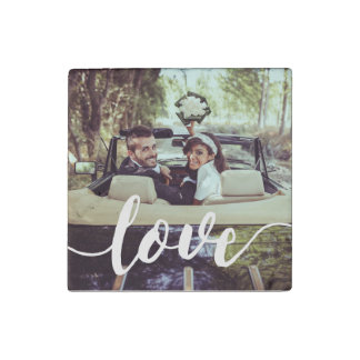 Love Script Overlay Photo Stone Magnet