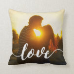 "Love Script Overlay Photo Throw Pillow<br><div class=""desc"">Snuggle up with love! Add your favorite everyday,  engagement or wedding photo to this square throw pillow featuring &quot;love&quot; in elegant,  modern white handwritten script along the bottom. Pillow reverses to a subtle gray and white dotted diamond pattern.</div>"
