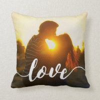 Love Script Overlay Photo Throw Pillow