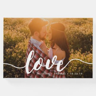 Love Script Overlay Wedding Photo Guest Book