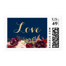 Love Script Rustic Burgundy Floral Navy Blue Gold Postage at Zazzle