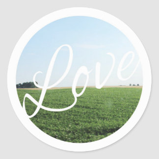 Love Script Typography with Nature Photography Classic Round Sticker