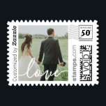 "Love Script Wedding Photo PhotoStamp by Stamps.com<br><div class=""desc"">Spread the love with our custom postage featuring &quot;love&quot; in modern white script overlaid on your favorite wedding photo. A perfect way to send out your wedding thank you cards!</div>"