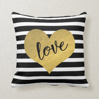 Love Script With Gold Heart And Stripes Throw Pillow