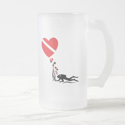 Love SCUBA 16 Oz Frosted Glass Beer Mug
