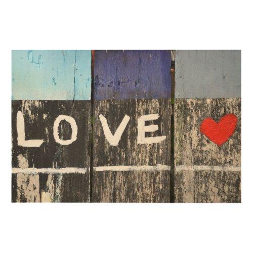 LOVE - SEASIDE DRIFTWOOD WOOD PRINT