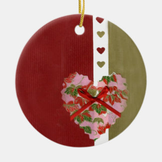 Love Series Collage Heart #9 Double-Sided Ceramic Round Christmas Ornament