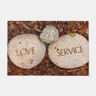"""Love"" ""Service"" Spiritual Religious Stone Doormat"