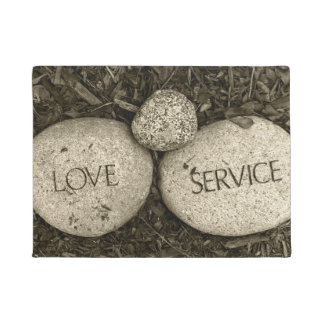 """Love"" ""Service"" Spiritual Religious Stones Doormat"