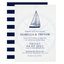 Love Sets Sail Wind Rose Nautical Wedding Invite