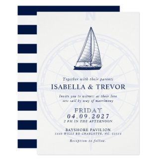 Love Sets Sail Wind Rose Nautical Wedding Invite