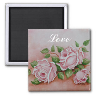 Love Shabby Chic Vintage Pink Rose Painting Magnet