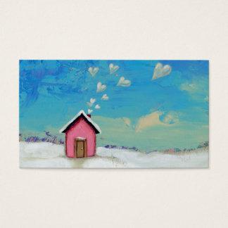 Love shack cabin fun romantic art Staying Warm Business Card