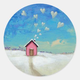 Love shack cabin fun romantic art Staying Warm Classic Round Sticker