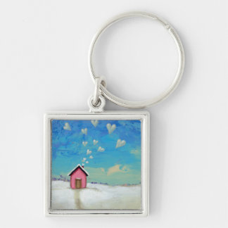 Love shack cabin fun romantic art Staying Warm Keychain