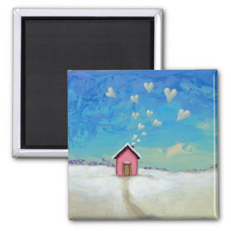 Love shack cabin fun romantic art Staying Warm Magnet