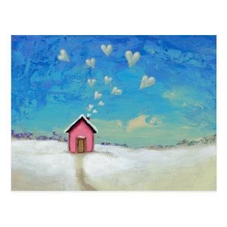 Love shack cabin fun romantic art Staying Warm Post Card