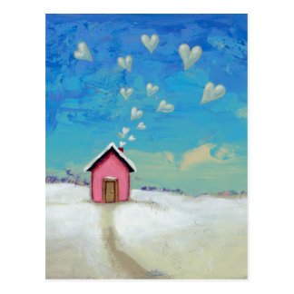Love shack cabin fun romantic art Staying Warm Postcard
