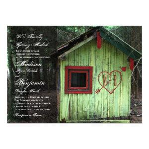Love Shack Cabin Initials Heart Wedding Invitation