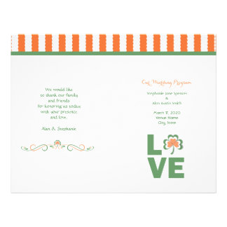 Love Shamrock Wedding Program Flyers