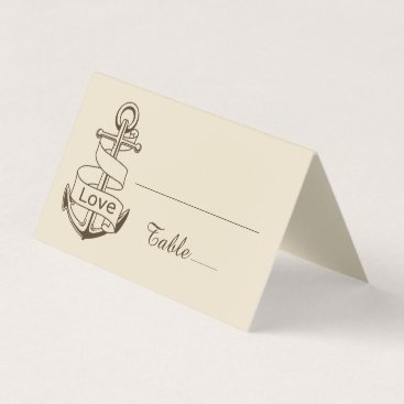 Beach Themed Love Ship Anchor Brown Tan Nautical Wedding Place Card