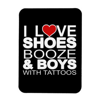 Love Shoes Booze Boys with Tattoos Rectangular Magnets