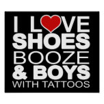 Love Shoes Booze Boys with Tattoos Print