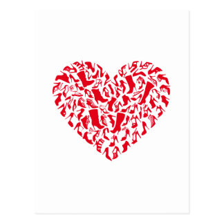 Love shoes, red heart with shoe silhouettes postcards