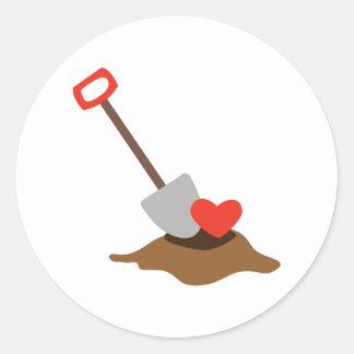 Love Shovel Round Stickers