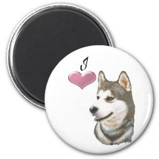 Love Siberian Husky Dog Art with 3D Heart Fridge Magnet