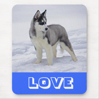 Love Siberian Husky Puppy Dog in Snow Mouse Pad