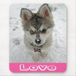 Love Siberian Husky Puppy Dog In Snow Mousepad