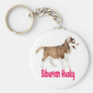 Love Siberian Husky Puppy Dog Pink Keychain