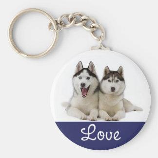 Love Siberian Husky Puppy Dog Portrait Keychain