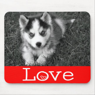 Love Siberian Husky Puppy Dog Red Mousepad