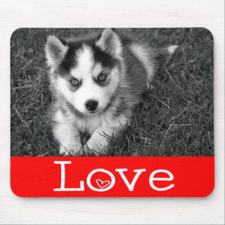 Love Siberian Husky Puppy Dog Red Mousepad