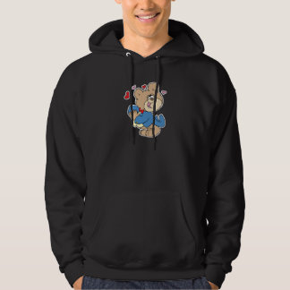 love sick boy teddy bear design hooded pullover